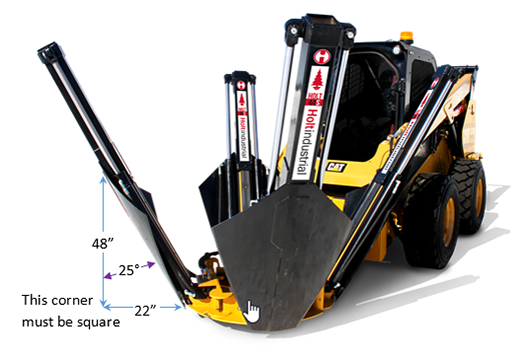 25 degree tree spade measurements